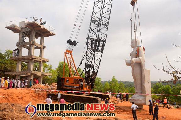 32-feet monolithic statue of Sri Madhwacharya, installed at Kunjarugiri hill