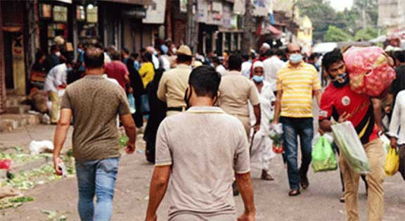 Heavy rush at grocery and vegetable shops during relaxation