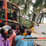 Bus and sand transporting tipper collides near Manjanady